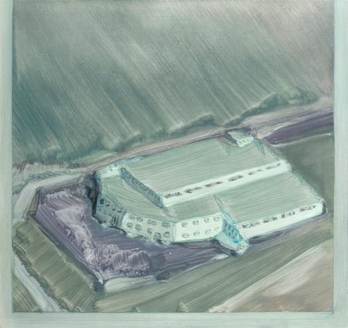 Porcelain factory - Oil paint on aluminium mounted on wood panel