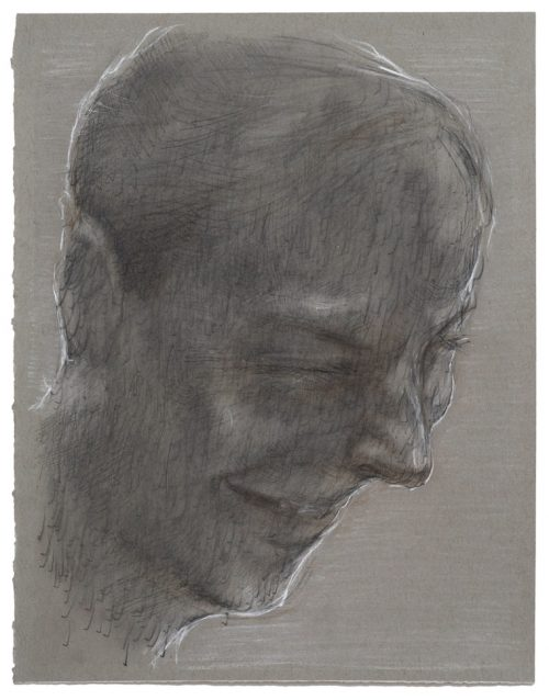 study for Pana's Head - Pencil and chalk on grey paper