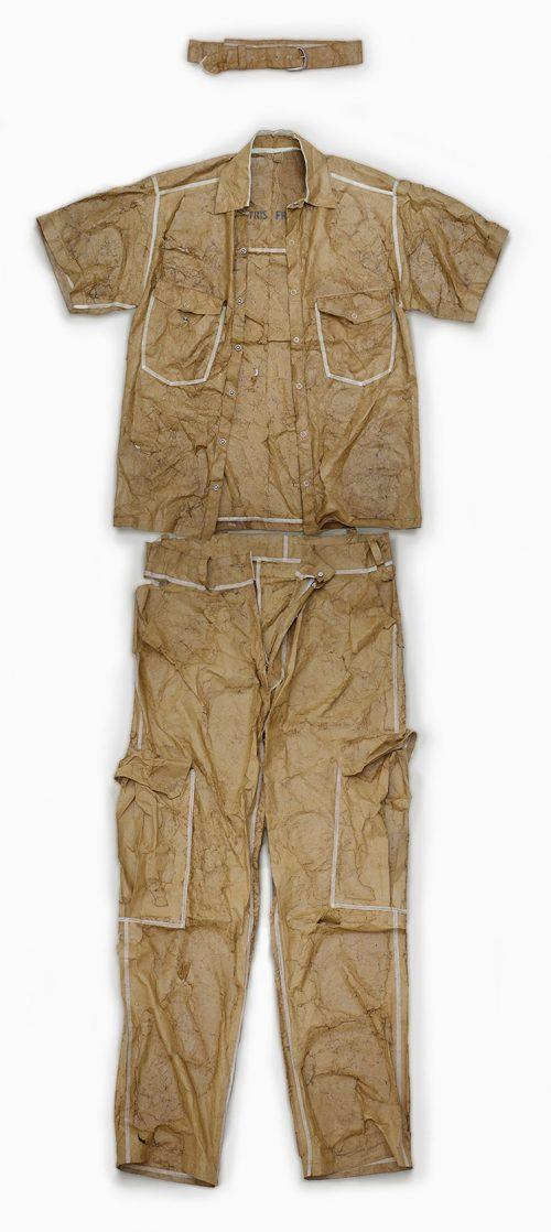Work Suit - Acorn paper, glue, various metal clips