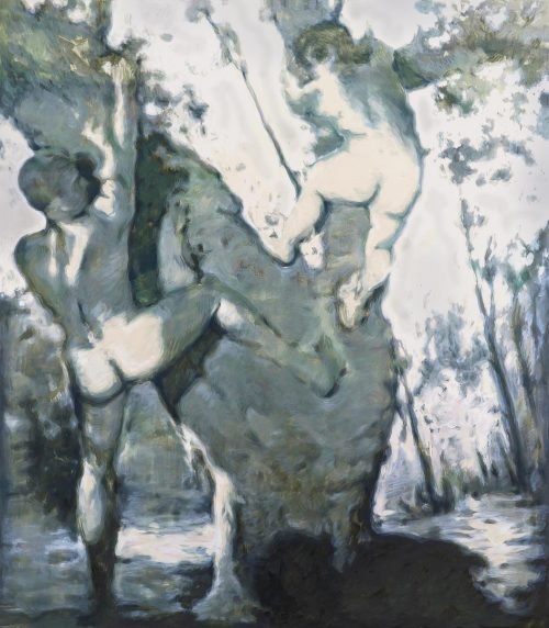 Acorn Tree (Two men Climbing) - Oil paint on canvas