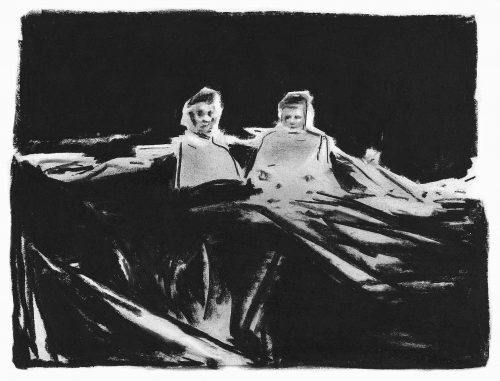 Friends - Charcoal on paper