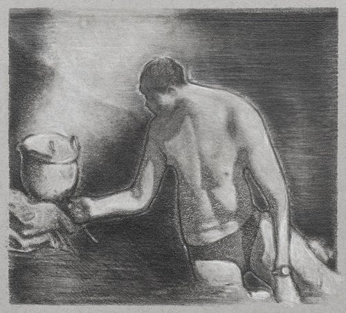 Lake Chef - Pencil and chalk on grey paper