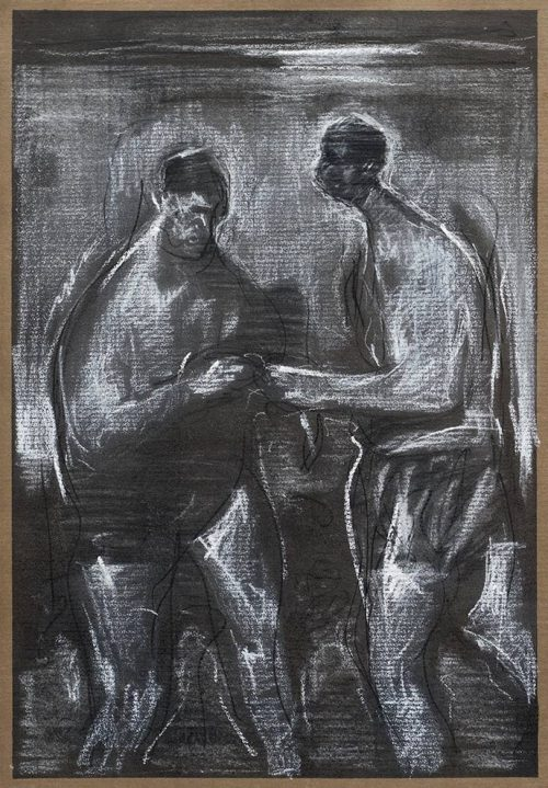 Lake swimmers - Charcoal and chalk on brown handmade paper