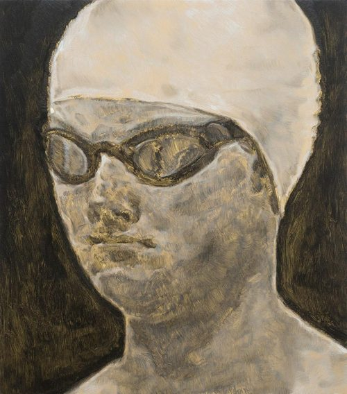 Untitled (Swimmer's head) - Oil paint on bronze plate mounted on wood